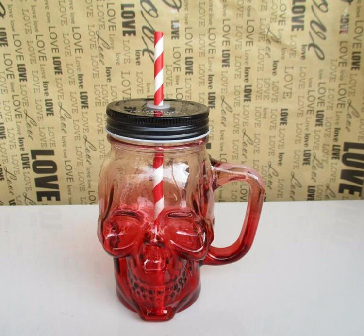 Skull Mason Jar Glass