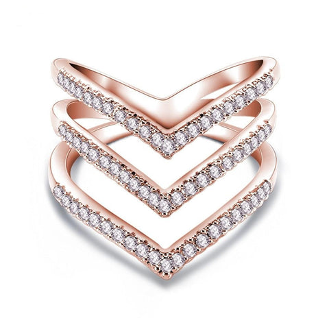 3 Love Shape 18K Rose Gold Plated