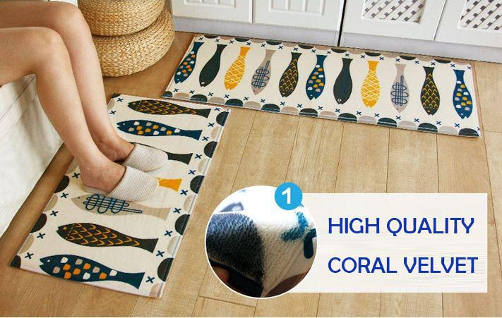 Cute Non-slip Fish Pattern Kitchen Mat