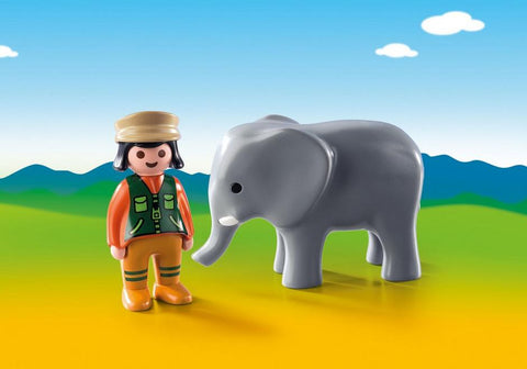 Playmobil 123 Zoo Keeper with Elephant