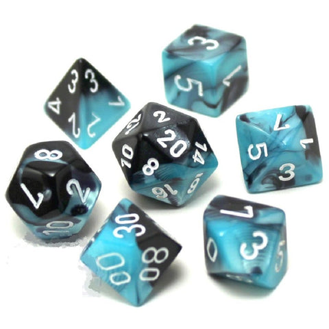 Gemini: 7pc Dice Set Black-Shell/White