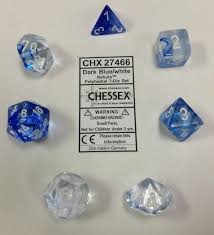 Nebula Dark blue/white 7pc Dice Set