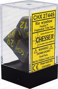 Festive Rio w/Yellow 7pc - Dice Set