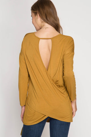 Cross My Heart Drawstring Top in Mustard