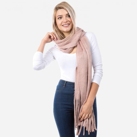 Tassles Scarf in Blush