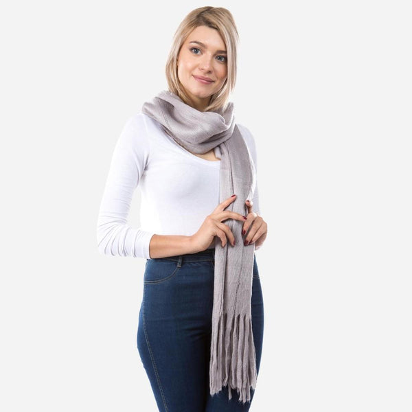Tassles Scarf in Grey