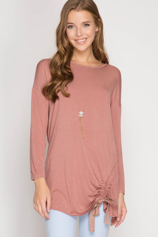 Cross My Heart Drawstring Top in Dusty Rose