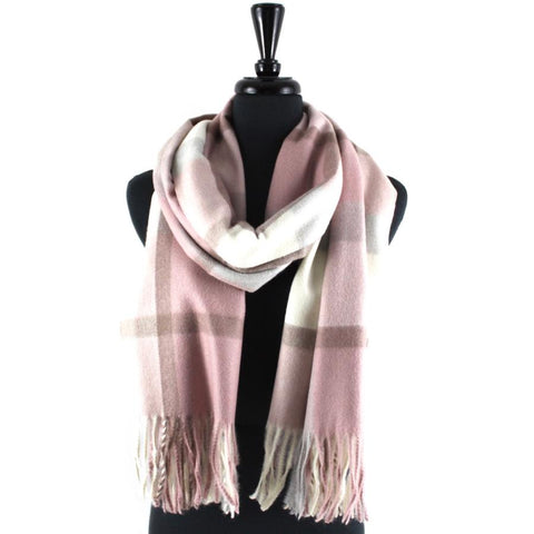 Preppy Plaid Blanket Scarf in Rose