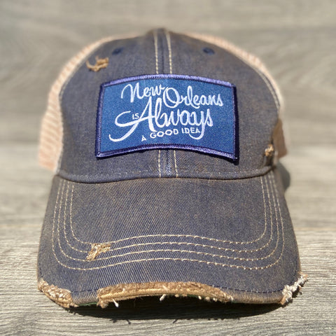New Orleans Is Always A Good Idea Adjustable Hat With Patch - Sweet Pea and Tulip