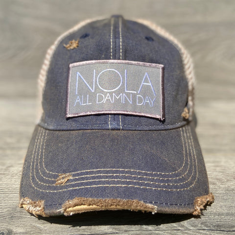 NOLA All Damn Day Adjustable Hat With Patch - Sweet Pea and Tulip