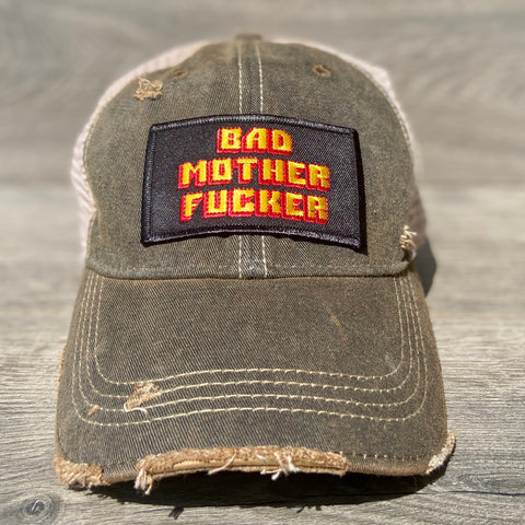 Bad Mother Fucker Adjustable Hat With Patch - Sweet Pea and Tulip