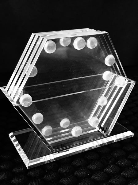HEXAGON LUCITE COASTER SET OF 4 & STAND - AV DESIGN by ANDREA VALENTINI