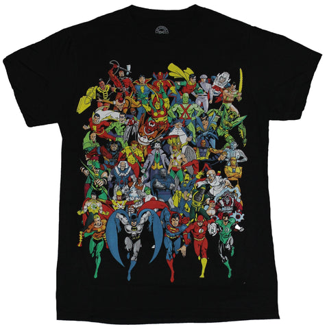 DC Comics Mens T-Shirt - Full Color Charging Hundreds of 80s Heroes Image - Inmyparentsbasement.com