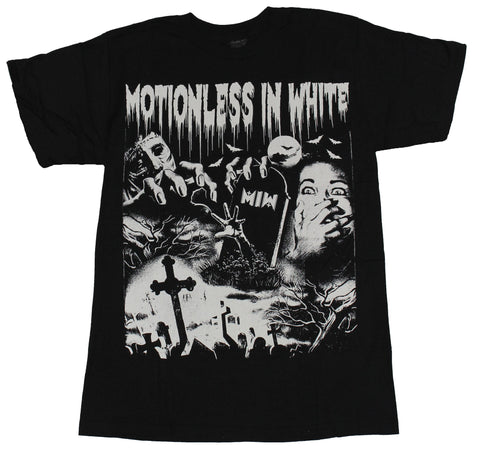 Motionless in White Mens T-Shirt  - Double Scary Face Graveyard Image - Inmyparentsbasement.com
