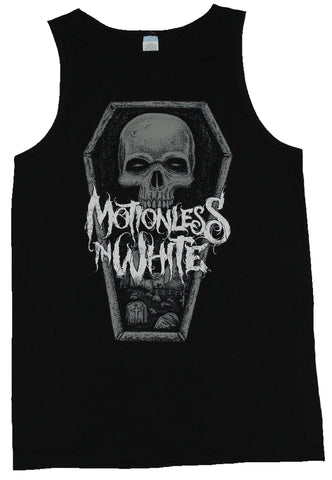 Motionless in White Mens Tank Top  - Skull in Coffin Graveyard Image - Inmyparentsbasement.com