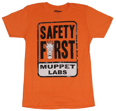 The Muppets Mens T-Shirt  - Safety First! Beaker Head Muppet Labs Image