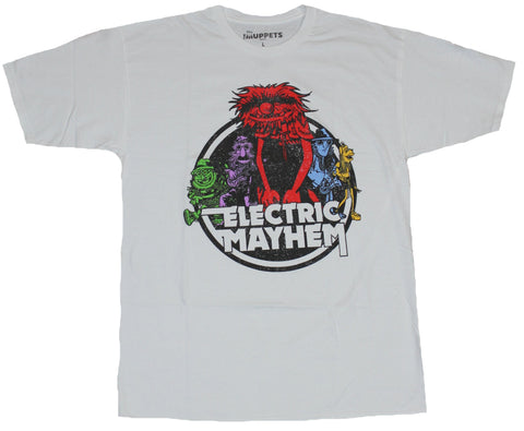 The Muppets Mens T-Shirt - Electric Mayhem Primary Colored Animal Band Circle