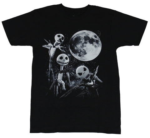 Nightmare Before Christmas Mens T-Shirt  - 3 Jack Skellington Moon Image - Inmyparentsbasement.com