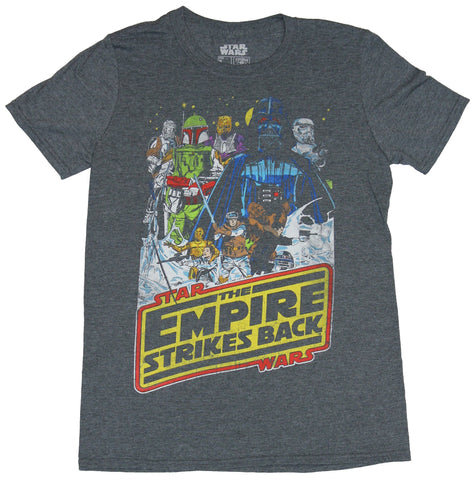 Star Wars  Mens T-Shirt - Empire Strikes Back Comic Style Characters Image