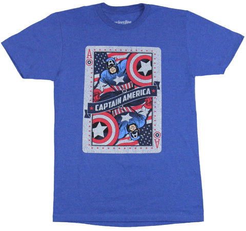 Captain America (Marvel Comics) Mens T-Shirt - Ace Playing Card Image