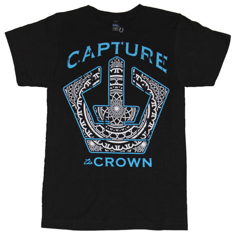 Capture the Crown Mens T-Shirt -  Blue Words Geometric Filled Logo Image