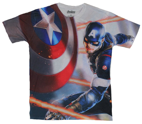 The Avengers Marvel Comics Sublimation Mens T-Shirt - Movie Cap Shield Throw