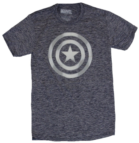 Captain America Moisture Wicking Mens T-Shirt - Metallic Style Cap Logo