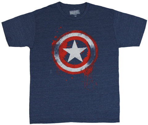 Captain America (Marvel Comics) Mens T-Shirt - Splattered Red White Blue Shield
