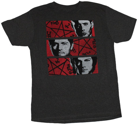 Supernatural Mens T-shirt - Sam Dean & Castiel Symbol Face Bars Image