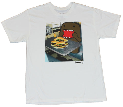 Domo (Internet Star) Mens T-Shirt  - Holy Moly Hamburger Time Image on White