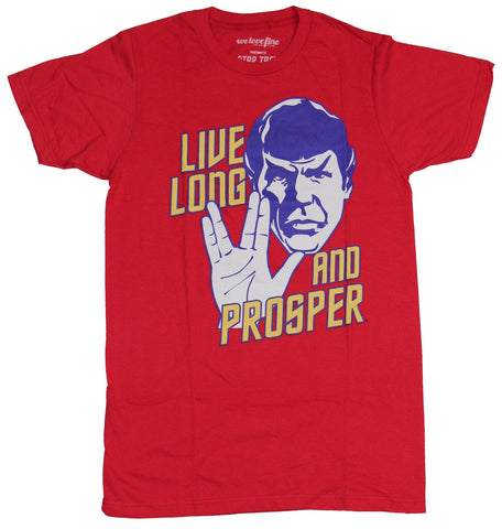 Star Trek Mens T-Shirt - Live Long & Prosper Stock Face And Vulcan Greeting
