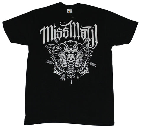 Miss May I Mens T-Shirt - Arrow Pierced Moth Skull Image Under logo