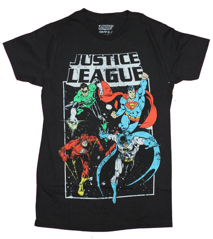 Justice League Mens T-Shirt- Distressed Main 4 Under Logo Image