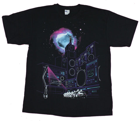Music Mens T-Shirt- Guitar in a Spacey Speaker Amp Stack