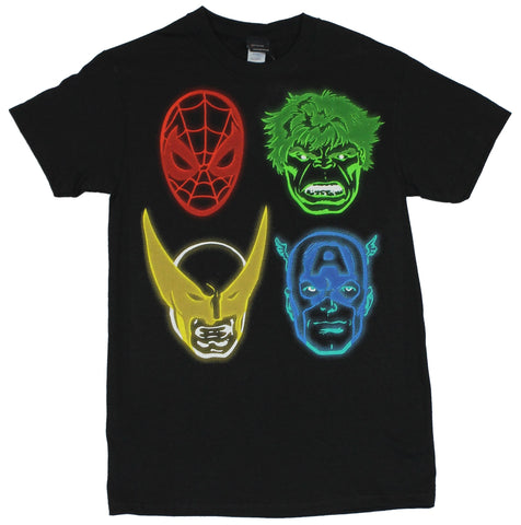 Marvel Comics Mens T-Shirt - The Big Four Neon Electrified Line Drawing Image