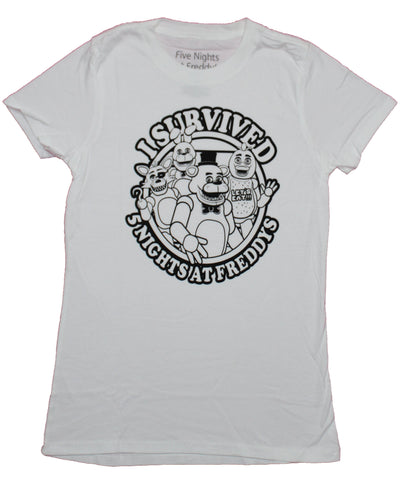 Five Night's At Freddy's  Girls Juniors T-Shirt - I Survived Five Nights