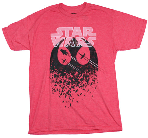 Star Wars Mens T-Shirt - X-wings A-Wings Rushing Through  Republic Logo