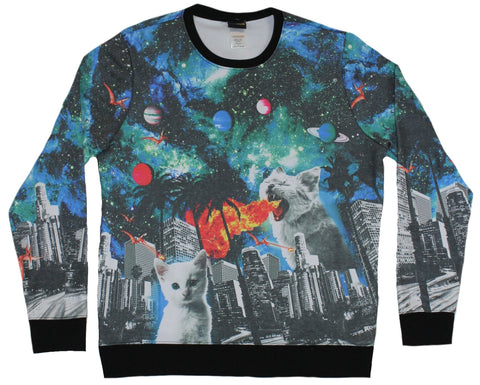 Kittens Mens Crewneck Sweatshirt - Fire Breathing Cats In Spacy City