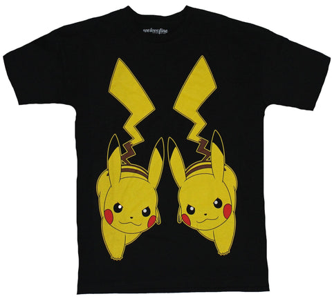 Pokemon Mens T-Shirt -  Pikachu Attacking Double Time Image