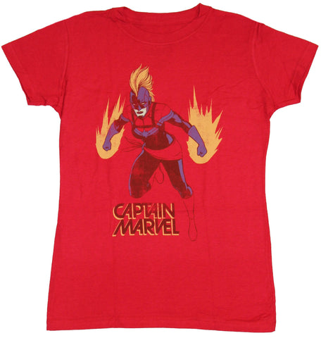 Captain Marvel (Comics) Girls Juniors T-Shirt - Power Posed Distressed Over Name