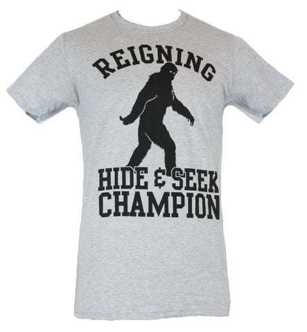 Bigfoot Mens T-Shirt - Reigning Hide and Seek Champion Turned Look Image - Inmyparentsbasement.com
