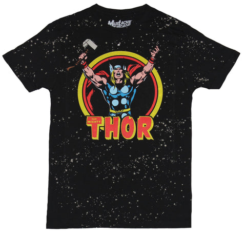 Thor (Marvel Comics) Mens T-Shirt - Arms Upward Screaming Circle In Space Image
