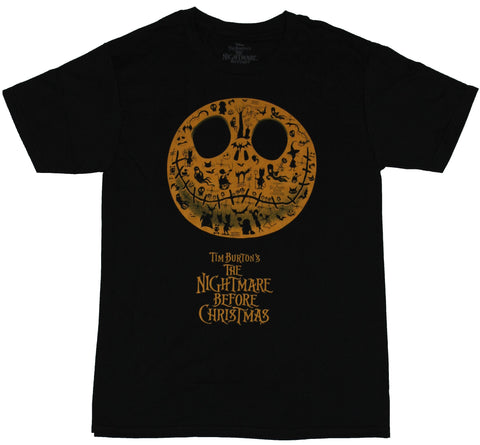 Nightmare Before Christmas Mens T-Shirt -  Jack Face Filled With Movie Images
