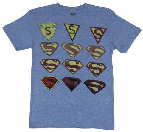 Superman (DC Comics) Mens T-Shirt  - Distressed Historic Shield Collection on