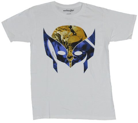 Wolverine (Marvel Comics) Mens T-Shirt - Mask Image Filled With Comic Panels