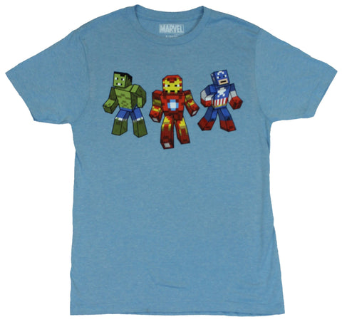 Marvel Comics Mens T-Shirt  - Block Pixel Iron Man, Captain America & Hulk