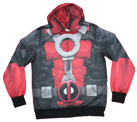 Deadpool  Mens Zip Up Hoodie - Classic Costume Sublimated Allover Image