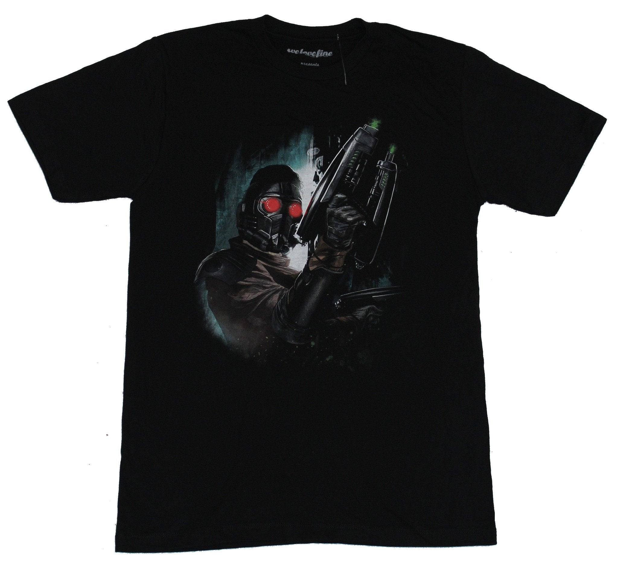 Guardians of the Galaxy Mens T-Shirt - Starlord Blaster in Shadow Image