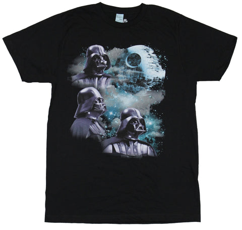 Star Wars Mens T-Shirt - Triple Darth Vader moon Smoke and Death Star Image