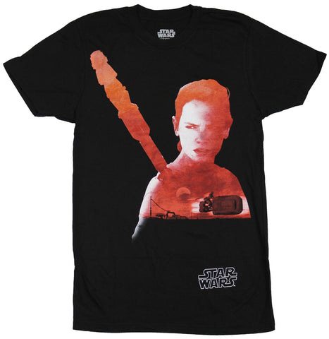 Star Wars Force Awakens Mens T-Shirt - Rey Filled With Red Sky Movie Image